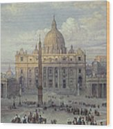 Exterior Of St Peters In Rome From The Piazza Wood Print