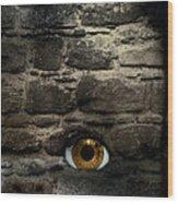 Eye In Brick Wall Wood Print