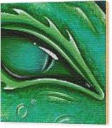Eye Of The Green Algae Dragon Wood Print