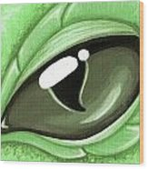 Eye Of The Mint Green Dragon Hatchling Wood Print