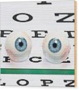 Eyeballs On Chart Wood Print