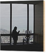 Eyes Down From The 103rd Floor Texting From The Top Of The World Wood Print