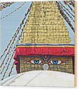 Eyes Of Buudha Boudhanath Stupa In Kathmandu-nepal  Wood Print
