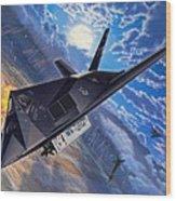 F-117 Nighthawk - Team Stealth Wood Print by Stu Shepherd