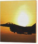 F-16 Fighting Falcon Flying Over Korea Wood Print