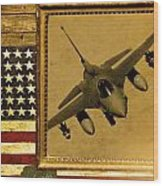 F-16 Fighting Falcon Rustic Flag Wood Print