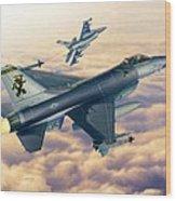 F-16c Sunset Falcons Wood Print by Stu Shepherd