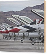 F-16c Thunderbirds On The Ramp Wood Print by Terry Moore