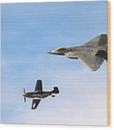 F-22 And P-51 Heritage Flight Wood Print by Saya Studios