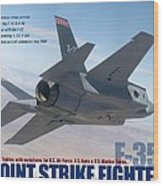 Lockheed Martin F-35 Joint Strike Fighter Lightening II With Text Wood Print