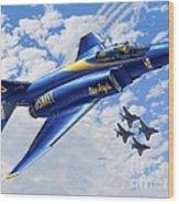 F-4 Phantoms In Blue Wood Print