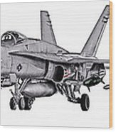 F/a-18c Forward Quarter Wood Print