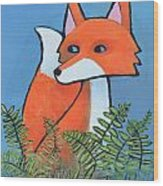 F Is For Fox Wood Print