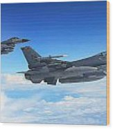 F16 Fighting Falcons Wood Print