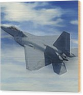 F22  Raptor Climbing In The Clouds Wood Print