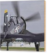F4u-4 Corsair Prop Wash Wood Print