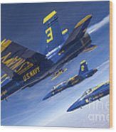 Fa-18 Hornets Of The Blue Angels Fly Wood Print