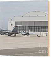 Fa-18 Hornets On The Flight Line Wood Print