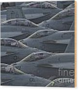 Fa18 Super Hornets Sit On The Flight Deck Of The Aircraft Carrier Uss Enterprise  Wood Print by Paul Fearn