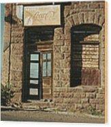 Facade American Pool Hall Coca-cola Sign Ghost Town Jerome Arizona Wood Print