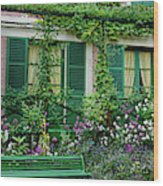 Facade Of Claude Monets House, Giverny Wood Print