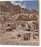 facade street in Nabataean ancient town Petra Wood Print