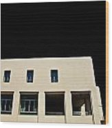 Facade Windows Of Office Building On Black Sky Wood Print