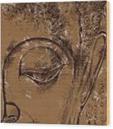 Face Chalk Sketch Wood Print