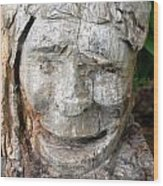 Face In A Tree Wood Print