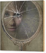 Face In Broken Mirror Wood Print