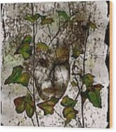 Face In The Garden Wood Print
