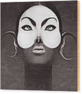 Face Moon Wood Print by Yosi Cupano
