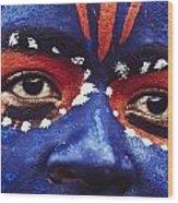 Face Of Carnival Wood Print by Ian Cumming