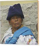 Face Of Ecuador Woman At Cotacachi Wood Print