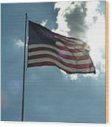 Face Of Jesus In Cloud W Flag 9 11 Remembered  Wood Print