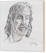 Face Of Jesus Wood Print by John Keaton
