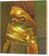 Face Of Reclining Buddha In Wat Po In Bangkok-thailand Wood Print