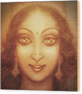 Face Of The Goddess/ Durga Face Wood Print by Ananda Vdovic