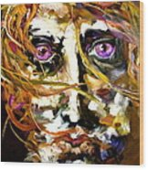 Face Series 4 Knowing Wood Print by Michelle Dommer