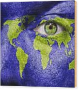 Face The World Map Wood Print
