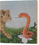 Face To Face Were A Lion And Snake Wood Print