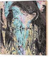 Faceless Girl With Her Crow Wood Print
