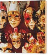 Faces Of Carnavale Wood Print