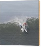 Facing Off On A Big Wave At Mavericks Wood Print