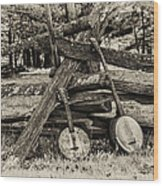 Faded Country Time Banjos Wood Print