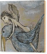 Faery And The Stork - Prints Wood Print