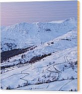 Fairfield Covered In Snow At Sunset Wood Print