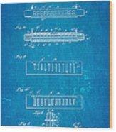 Fairfield Harmonica Patent Art 1897 Blueprint Wood Print