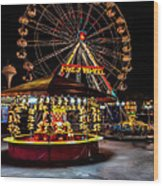 Fairground At Night Wood Print