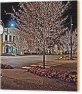 Fairhope Ave With Clock Night Image Wood Print